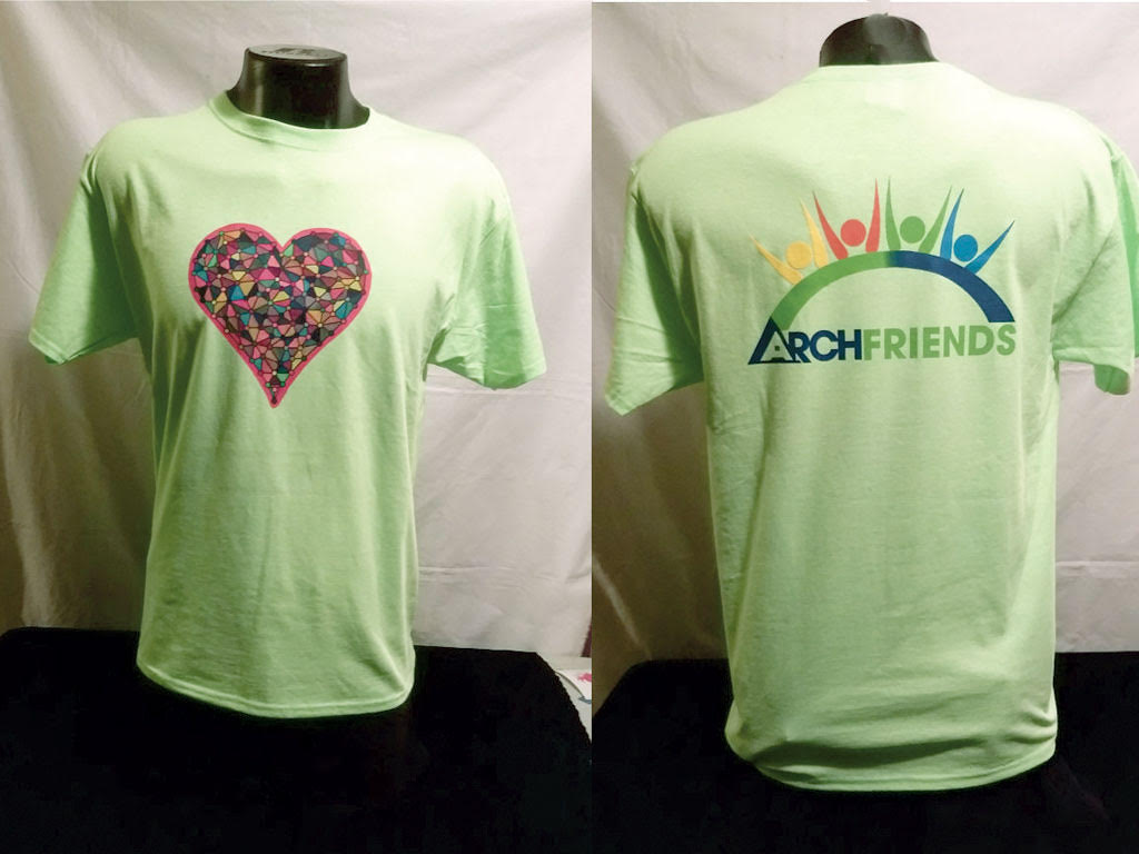 heart jewel arch friends green